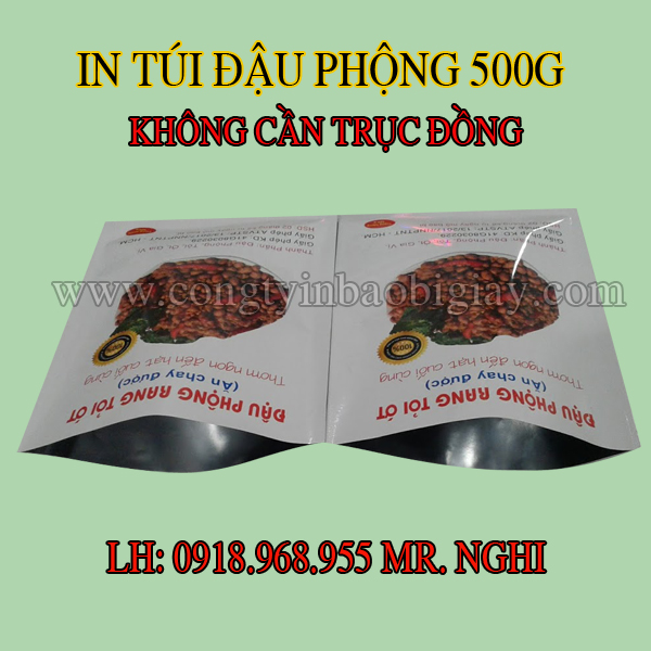 In túi đựng đậu phộng rang tỏi ớt 500 gram| congtyinbaobigiay.com