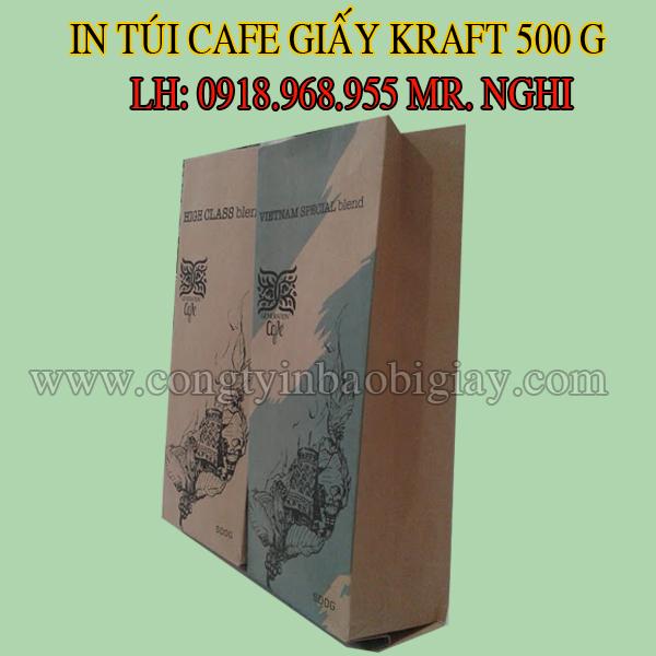 In túi đựng cafe giấy kraft 500 gram| congtybaobigiay.com