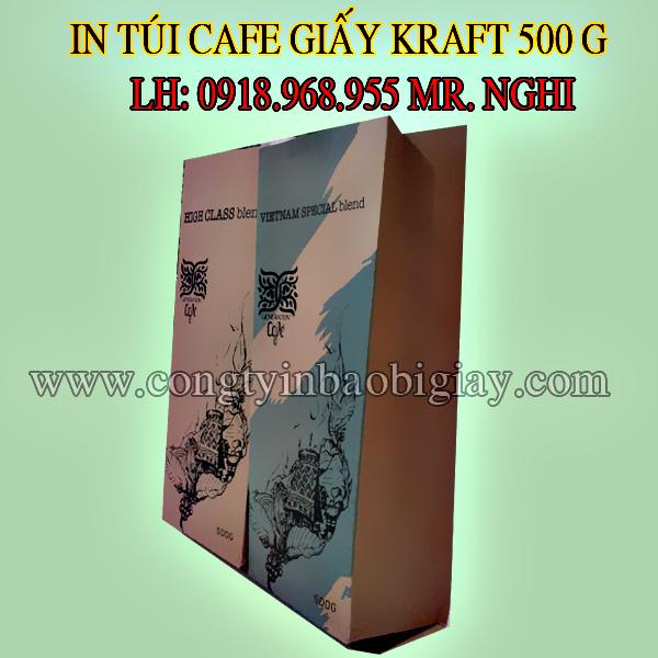 In túi đựng cafe giấy kraft 500 gram| congtyinbaobigiay.com