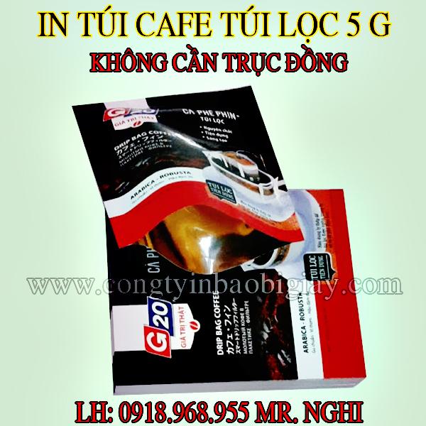 In túi đựng cafe túi lọc 5 gram G20| congtyinbaobigiay.com